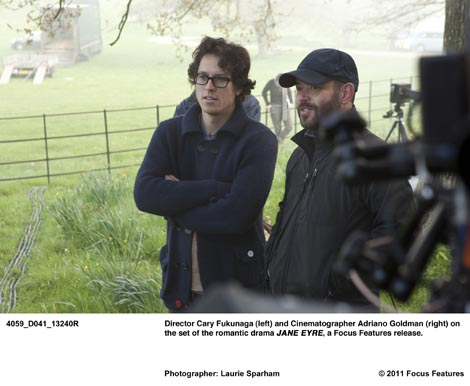 Cary Fukunaga on the set of Jane Eyre