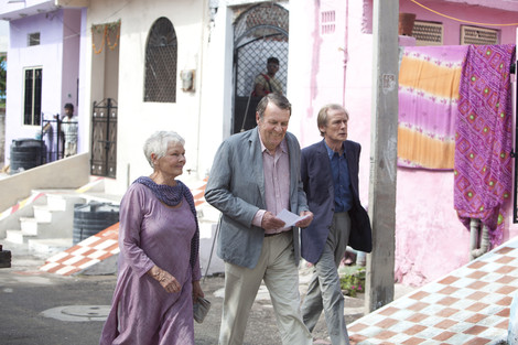 Judi Dench, Tom Wilkinson, and Bill Nighy in Best Exotic Marigold Hotel