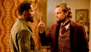 Jamie Foxx and Leonardo DiCaprio in the movie Django Unchained