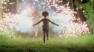 Quvenzhané Wallis running with fireworks in Beasts of the Southern Wild