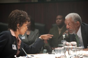 Angela Bassett and Morgan Freeman in Olympus Has Fallen