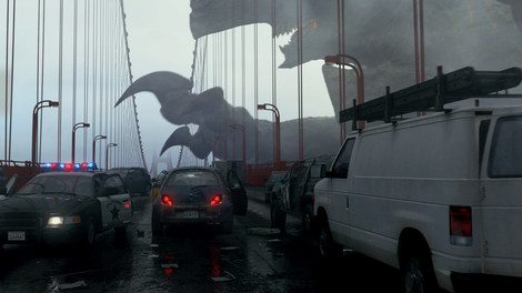 Monster attacking The Golden Gate Bridge in Pacific Rim