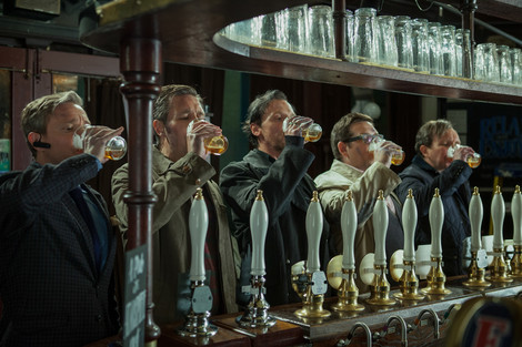 The cast of The World's End drinking beer