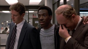 Judge Reinhold, Eddie Murphy and John Ashton in BEVERLY HILLS COP