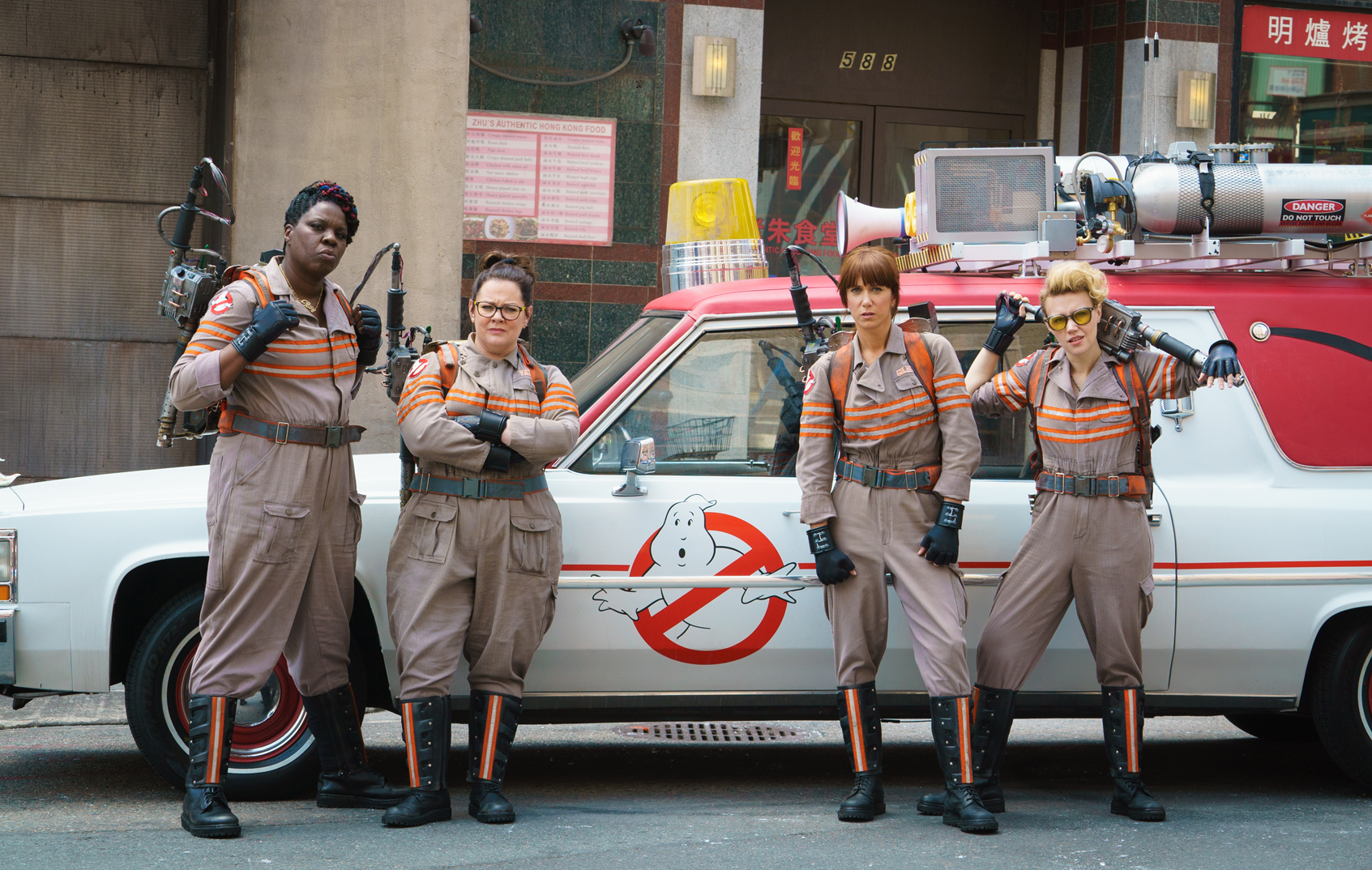 Leslie Jones, Melissa McCarthy, Kristen Wiig, and Kate McKinnon in GHOSTBUSTERS.