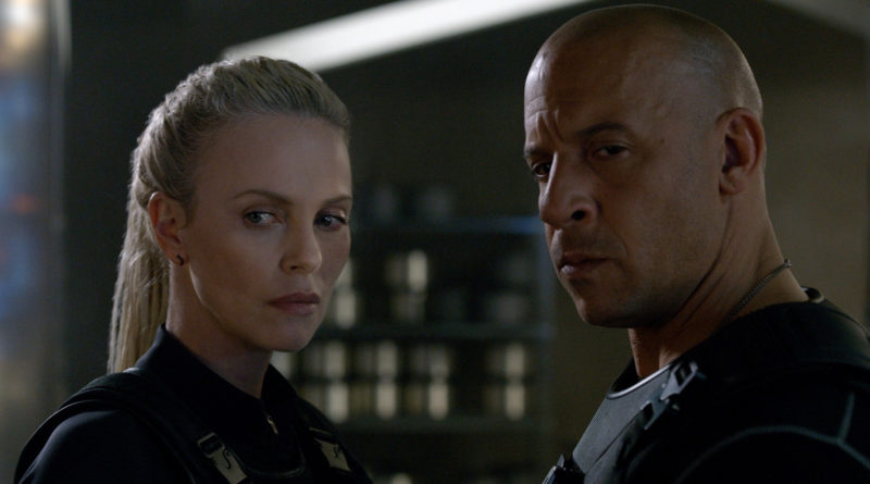 Vin Diesel with Charlize Theron in THE FATE OF THE FURIOUS.