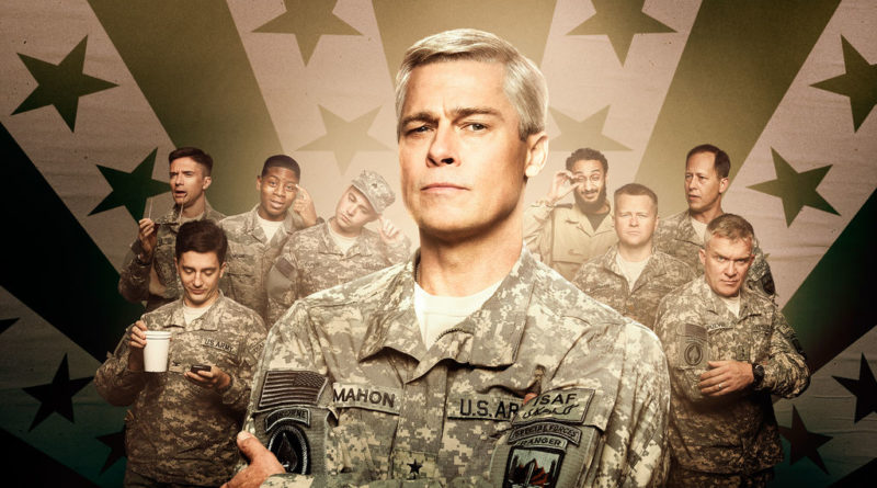 Brad Pitt with his stacked cast of characters in War Machine